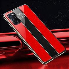 Silikon Schutzhülle Rahmen Tasche Hülle Spiegel T01 für Oppo A92 Rot