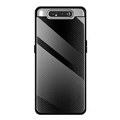 Silikon Schutzhülle Rahmen Tasche Hülle Spiegel T01 für Samsung Galaxy A80 Schwarz