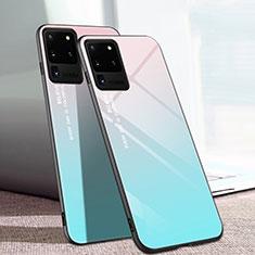 Silikon Schutzhülle Rahmen Tasche Hülle Spiegel T01 für Samsung Galaxy S20 Ultra 5G Cyan