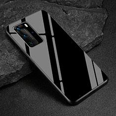 Silikon Schutzhülle Rahmen Tasche Hülle Spiegel T03 für Huawei P40 Pro Schwarz