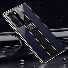 Silikon Schutzhülle Rahmen Tasche Hülle Spiegel T04 für Huawei P40 Pro Blau