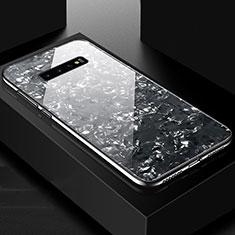 Silikon Schutzhülle Rahmen Tasche Hülle Spiegel U01 für Samsung Galaxy S10 Plus Schwarz