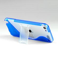 Silikon Schutzhülle S-Line Stand Hülle Durchsichtig Transparent für Apple iPod Touch 5 Blau