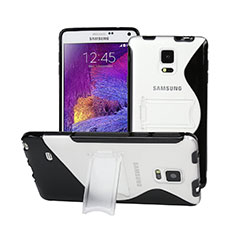 Silikon Schutzhülle S-Line Stand Hülle Durchsichtig Transparent für Samsung Galaxy Note 4 Duos N9100 Dual SIM Schwarz
