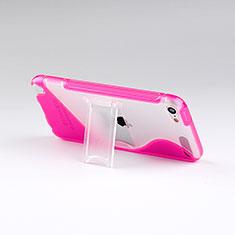 Silikon Schutzhülle S-Line Stand Tasche Durchsichtig Transparent für Apple iPod Touch 5 Pink