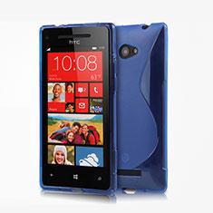 Silikon Schutzhülle S-Line Tasche Durchsichtig Transparent für HTC 8X Windows Phone Blau