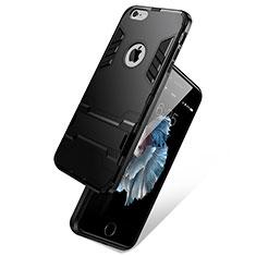 Silikon Schutzhülle Stand Tasche Durchsichtig Transparent Matt für Apple iPhone 6S Schwarz