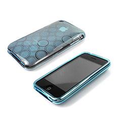 Silikon Schutzhülle Transparent Hülle Kreis für Apple iPhone 3G 3GS Hellblau