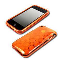 Silikon Schutzhülle Transparent Hülle Kreis für Apple iPhone 3G 3GS Orange