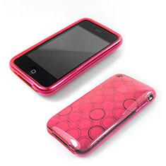 Silikon Schutzhülle Transparent Tasche Kreis für Apple iPhone 3G 3GS Rosa