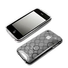 Silikon Schutzhülle Transparent Tasche Kreis für Apple iPhone 3G 3GS Weiß