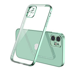 Silikon Schutzhülle Ultra Dünn Flexible Tasche Durchsichtig Transparent H01 für Apple iPhone 12 Grün
