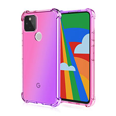 Silikon Schutzhülle Ultra Dünn Flexible Tasche Durchsichtig Transparent H01 für Google Pixel 5 Rosa