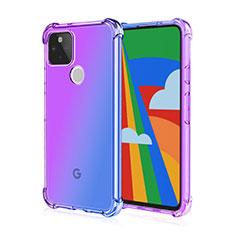 Silikon Schutzhülle Ultra Dünn Flexible Tasche Durchsichtig Transparent H01 für Google Pixel 5 Violett