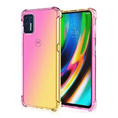 Silikon Schutzhülle Ultra Dünn Flexible Tasche Durchsichtig Transparent H01 für Motorola Moto G9 Plus Gelb