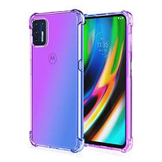 Silikon Schutzhülle Ultra Dünn Flexible Tasche Durchsichtig Transparent H01 für Motorola Moto G9 Plus Violett
