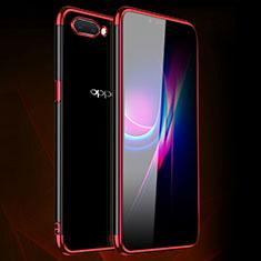Silikon Schutzhülle Ultra Dünn Flexible Tasche Durchsichtig Transparent H01 für Oppo A12e Rot