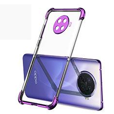 Silikon Schutzhülle Ultra Dünn Flexible Tasche Durchsichtig Transparent H01 für Oppo Ace2 Violett