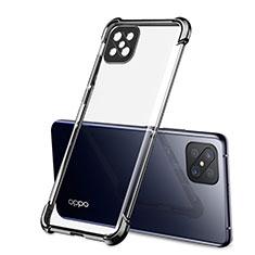 Silikon Schutzhülle Ultra Dünn Flexible Tasche Durchsichtig Transparent H01 für Oppo Reno4 Z 5G Schwarz