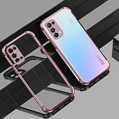 Silikon Schutzhülle Ultra Dünn Flexible Tasche Durchsichtig Transparent H01 für Oppo Reno5 Pro 5G Rosegold