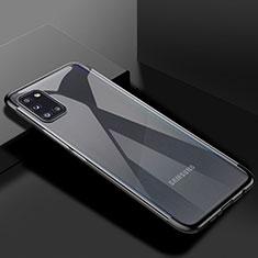 Silikon Schutzhülle Ultra Dünn Flexible Tasche Durchsichtig Transparent H01 für Samsung Galaxy A31 Schwarz