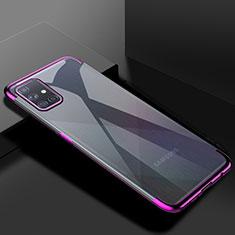Silikon Schutzhülle Ultra Dünn Flexible Tasche Durchsichtig Transparent H01 für Samsung Galaxy A71 5G Violett