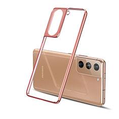 Silikon Schutzhülle Ultra Dünn Flexible Tasche Durchsichtig Transparent H01 für Samsung Galaxy S21 5G Gold