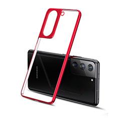 Silikon Schutzhülle Ultra Dünn Flexible Tasche Durchsichtig Transparent H01 für Samsung Galaxy S21 Plus 5G Rot