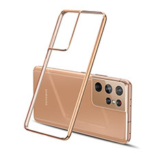 Silikon Schutzhülle Ultra Dünn Flexible Tasche Durchsichtig Transparent H01 für Samsung Galaxy S21 Ultra 5G Gold