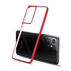 Silikon Schutzhülle Ultra Dünn Flexible Tasche Durchsichtig Transparent H01 für Samsung Galaxy S21 Ultra 5G Rot