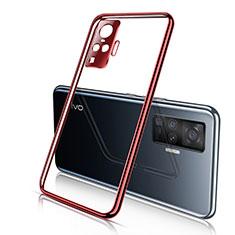 Silikon Schutzhülle Ultra Dünn Flexible Tasche Durchsichtig Transparent H01 für Vivo X50 Pro 5G Rot