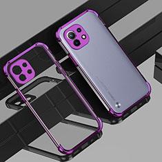 Silikon Schutzhülle Ultra Dünn Flexible Tasche Durchsichtig Transparent H01 für Xiaomi Mi 11 5G Violett