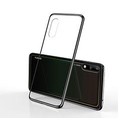 Silikon Schutzhülle Ultra Dünn Flexible Tasche Durchsichtig Transparent H02 für Huawei Enjoy 10 Schwarz