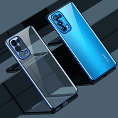 Silikon Schutzhülle Ultra Dünn Flexible Tasche Durchsichtig Transparent H02 für Oppo Reno5 5G Blau