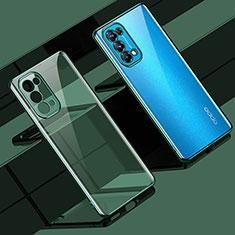 Silikon Schutzhülle Ultra Dünn Flexible Tasche Durchsichtig Transparent H02 für Oppo Reno5 Pro 5G Grün