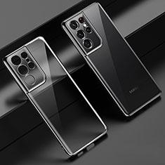 Silikon Schutzhülle Ultra Dünn Flexible Tasche Durchsichtig Transparent H02 für Samsung Galaxy S21 Ultra 5G Schwarz