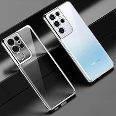 Silikon Schutzhülle Ultra Dünn Flexible Tasche Durchsichtig Transparent H02 für Samsung Galaxy S21 Ultra 5G Silber