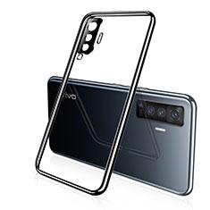 Silikon Schutzhülle Ultra Dünn Flexible Tasche Durchsichtig Transparent H02 für Vivo X50 5G Schwarz