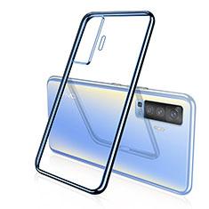 Silikon Schutzhülle Ultra Dünn Flexible Tasche Durchsichtig Transparent H04 für Vivo X50 5G Blau