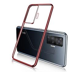 Silikon Schutzhülle Ultra Dünn Flexible Tasche Durchsichtig Transparent H04 für Vivo X50 Pro 5G Rot