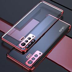 Silikon Schutzhülle Ultra Dünn Flexible Tasche Durchsichtig Transparent H05 für Vivo X50 5G Rot