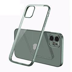 Silikon Schutzhülle Ultra Dünn Flexible Tasche Durchsichtig Transparent N01 für Apple iPhone 12 Nachtgrün