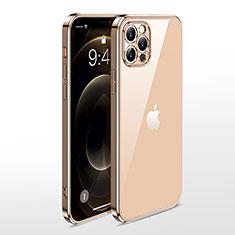 Silikon Schutzhülle Ultra Dünn Flexible Tasche Durchsichtig Transparent N01 für Apple iPhone 12 Pro Gold