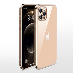 Silikon Schutzhülle Ultra Dünn Flexible Tasche Durchsichtig Transparent N01 für Apple iPhone 12 Pro Max Gold