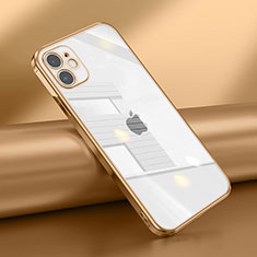Silikon Schutzhülle Ultra Dünn Flexible Tasche Durchsichtig Transparent N02 für Apple iPhone 12 Mini Gold
