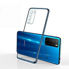 Silikon Schutzhülle Ultra Dünn Flexible Tasche Durchsichtig Transparent S01 für Huawei Honor Play4 5G Blau