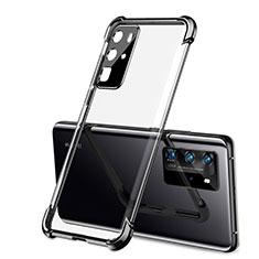 Silikon Schutzhülle Ultra Dünn Flexible Tasche Durchsichtig Transparent S01 für Huawei P40 Pro Schwarz