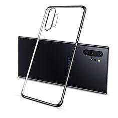 Silikon Schutzhülle Ultra Dünn Flexible Tasche Durchsichtig Transparent S01 für Samsung Galaxy Note 10 Plus 5G Schwarz