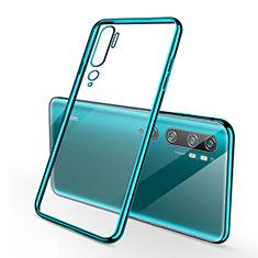 Silikon Schutzhülle Ultra Dünn Flexible Tasche Durchsichtig Transparent S01 für Xiaomi Mi Note 10 Cyan