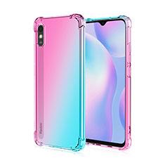Silikon Schutzhülle Ultra Dünn Flexible Tasche Durchsichtig Transparent S01 für Xiaomi Redmi 9A Rosa